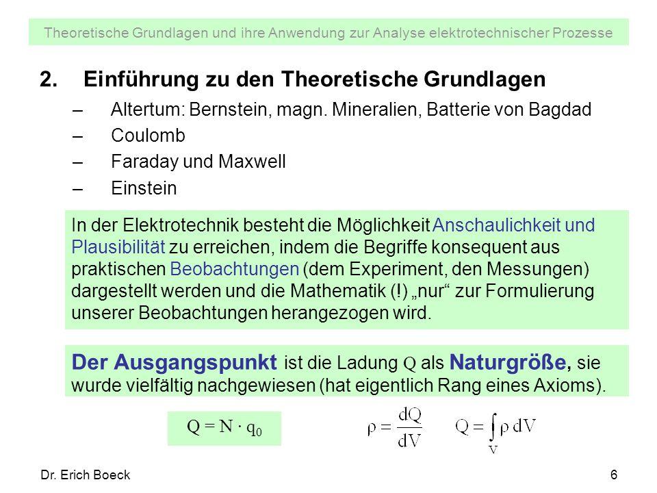 Theoretische Grundlagen und ihre Anwendung zur Analyse elektrotechnischer Prozesse Dr. Erich Boeck6 2.Einführung zu den Theoretische Grundlagen –Alter