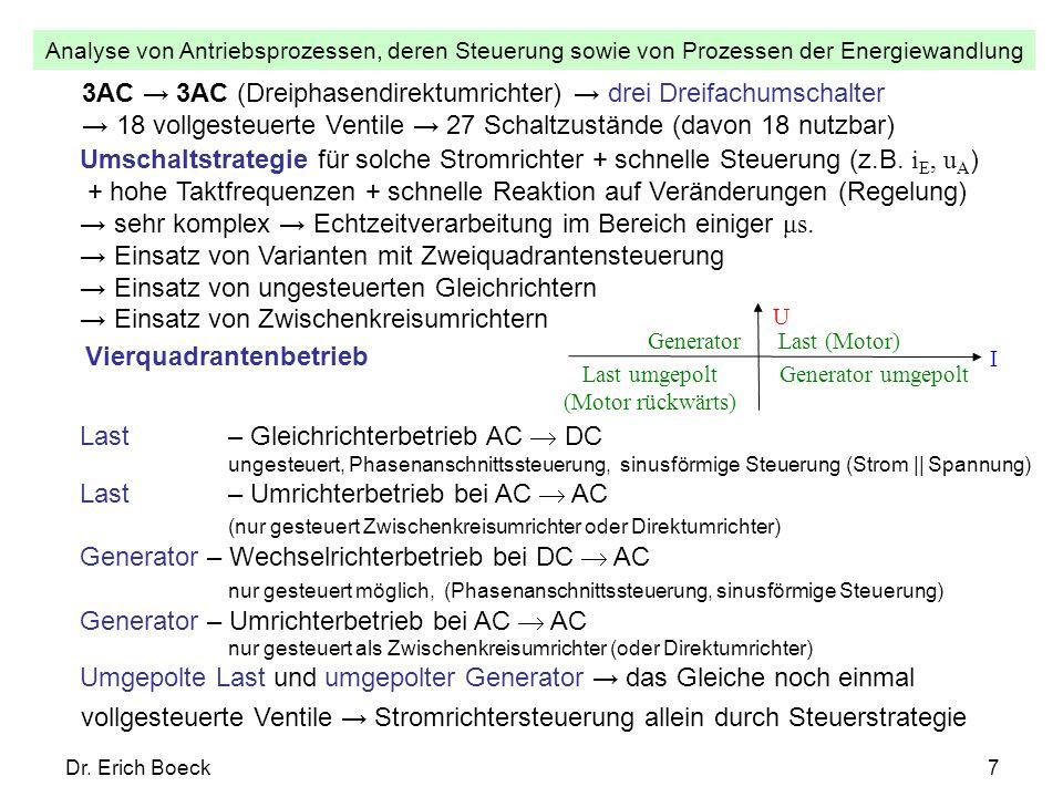 Analyse von Antriebsprozessen, deren Steuerung sowie von Prozessen der Energiewandlung Dr.