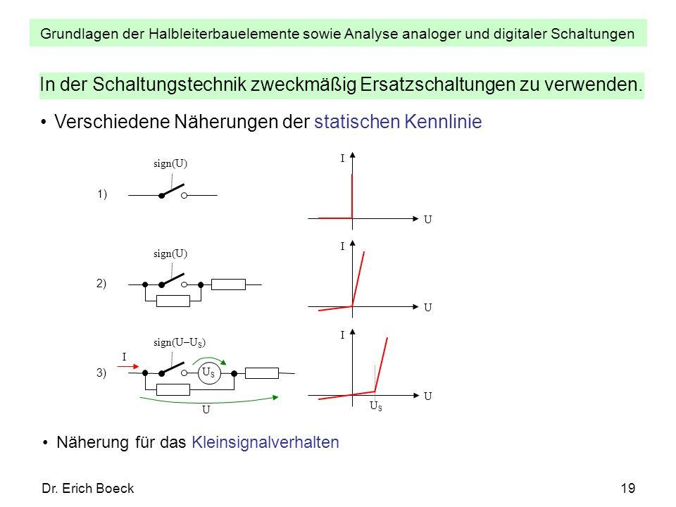 Grundlagen der Halbleiterbauelemente sowie Analyse analoger und digitaler Schaltungen Dr. Erich Boeck19 In der Schaltungstechnik zweckmäßig Ersatzscha