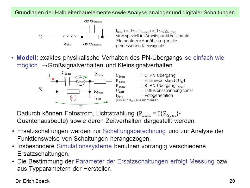Grundlagen der Halbleiterbauelemente sowie Analyse analoger und digitaler Schaltungen Dr. Erich Boeck20 C Sperr U Diff U I R Sperr R Bahn I Foto 5) C