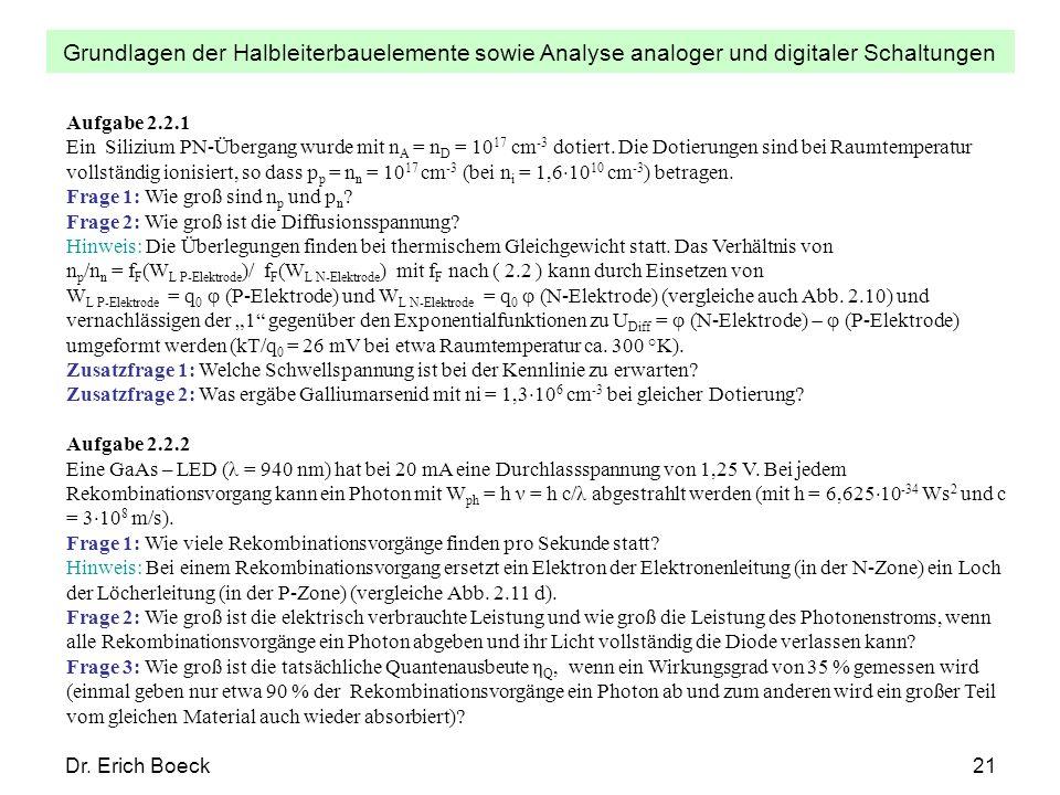 Grundlagen der Halbleiterbauelemente sowie Analyse analoger und digitaler Schaltungen Dr. Erich Boeck21 Aufgabe 2.2.1 Ein Silizium PN-Übergang wurde m