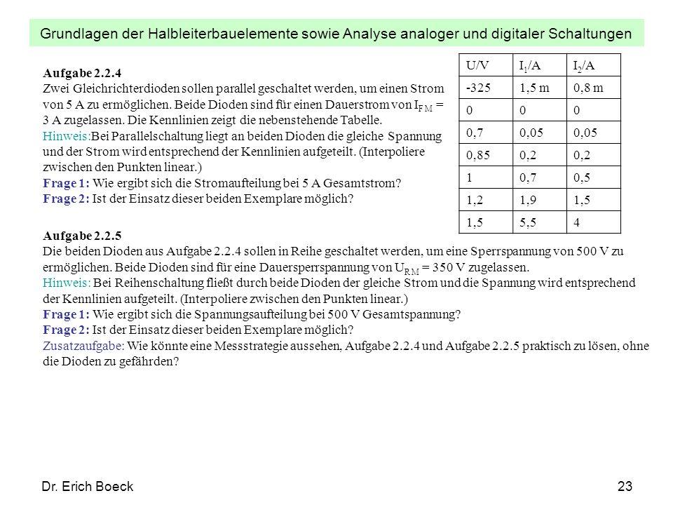 Grundlagen der Halbleiterbauelemente sowie Analyse analoger und digitaler Schaltungen Dr. Erich Boeck23 U/VI 1 /AI 2 /A -3251,5 m0,8 m 000 0,70,05 0,8