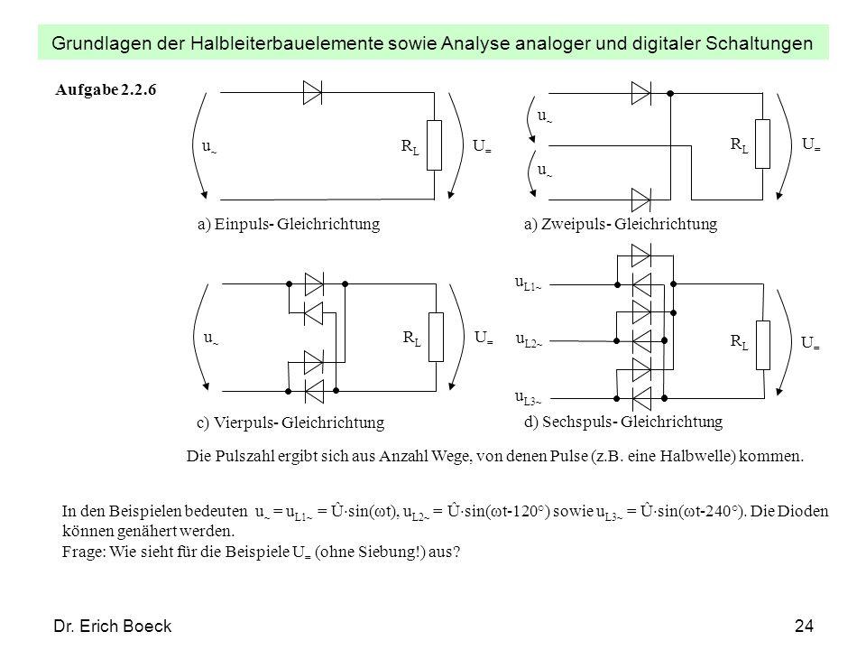 Grundlagen der Halbleiterbauelemente sowie Analyse analoger und digitaler Schaltungen Dr. Erich Boeck24 Aufgabe 2.2.6 U=U= a) Einpuls- Gleichrichtung