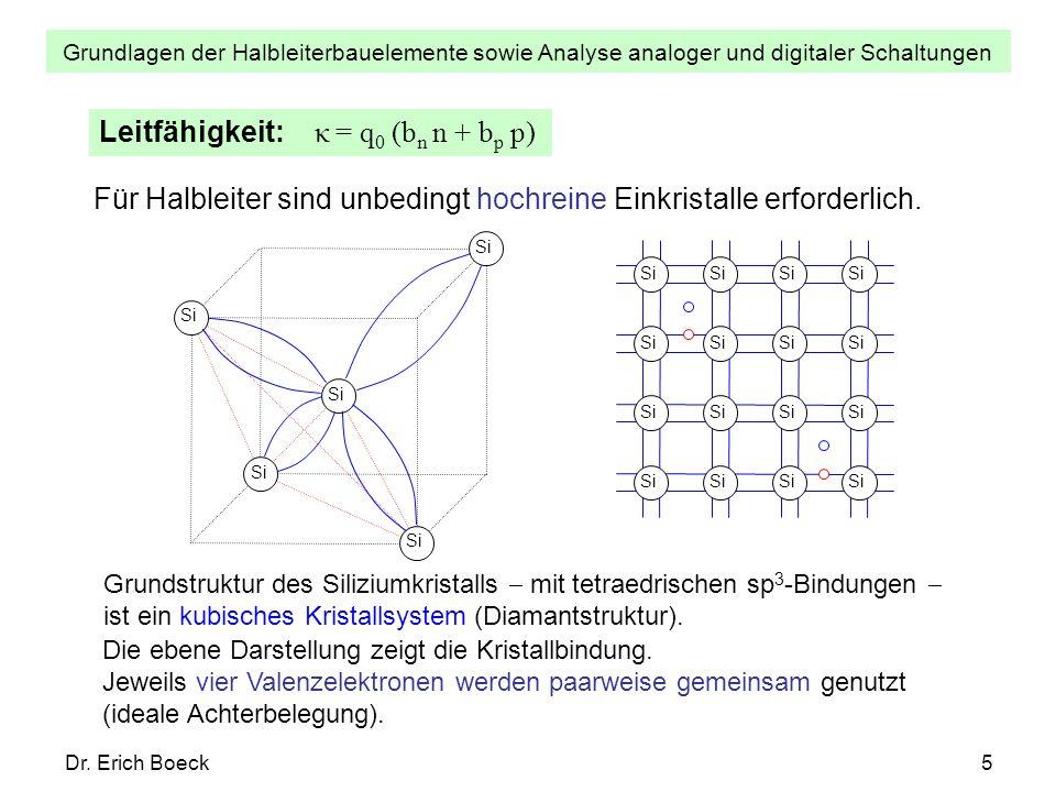 Grundlagen der Halbleiterbauelemente sowie Analyse analoger und digitaler Schaltungen Dr. Erich Boeck5 Leitfähigkeit: κ = q 0 (b n n + b p p) Für Halb