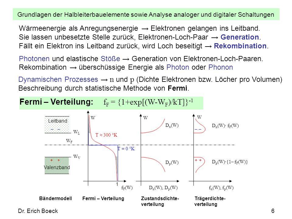 Grundlagen der Halbleiterbauelemente sowie Analyse analoger und digitaler Schaltungen Dr. Erich Boeck6 Wärmeenergie als Anregungsenergie Elektronen ge