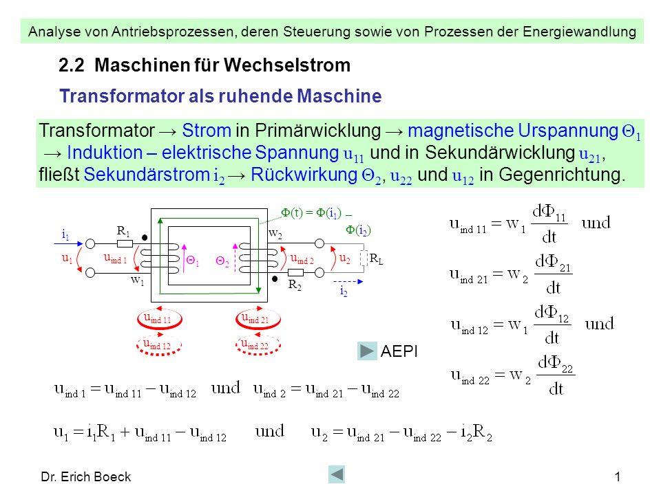 Analyse von Antriebsprozessen, deren Steuerung sowie von Prozessen der Energiewandlung Dr. Erich Boeck1 i1i1 u1u1 w1w1 R1R1 w2w2 R2R2 2.2 Maschinen fü