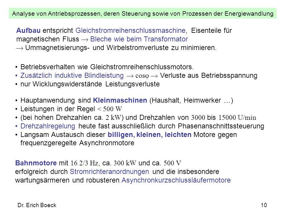 Analyse von Antriebsprozessen, deren Steuerung sowie von Prozessen der Energiewandlung Dr. Erich Boeck10 Betriebsverhalten wie Gleichstromreihenschlus