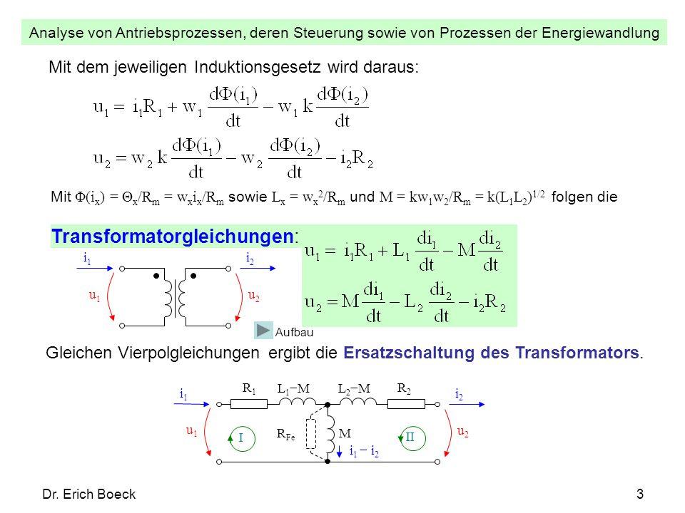 Analyse von Antriebsprozessen, deren Steuerung sowie von Prozessen der Energiewandlung Dr. Erich Boeck3 Mit dem jeweiligen Induktionsgesetz wird darau