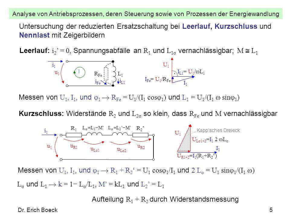 Analyse von Antriebsprozessen, deren Steuerung sowie von Prozessen der Energiewandlung Dr. Erich Boeck5 Untersuchung der reduzierten Ersatzschaltung b