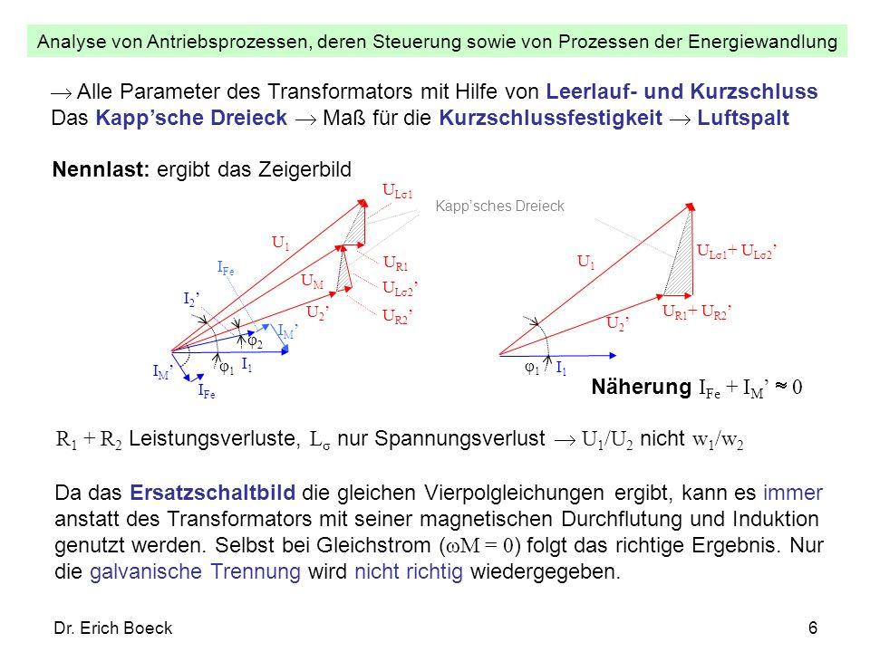 Analyse von Antriebsprozessen, deren Steuerung sowie von Prozessen der Energiewandlung Dr. Erich Boeck6 Alle Parameter des Transformators mit Hilfe vo