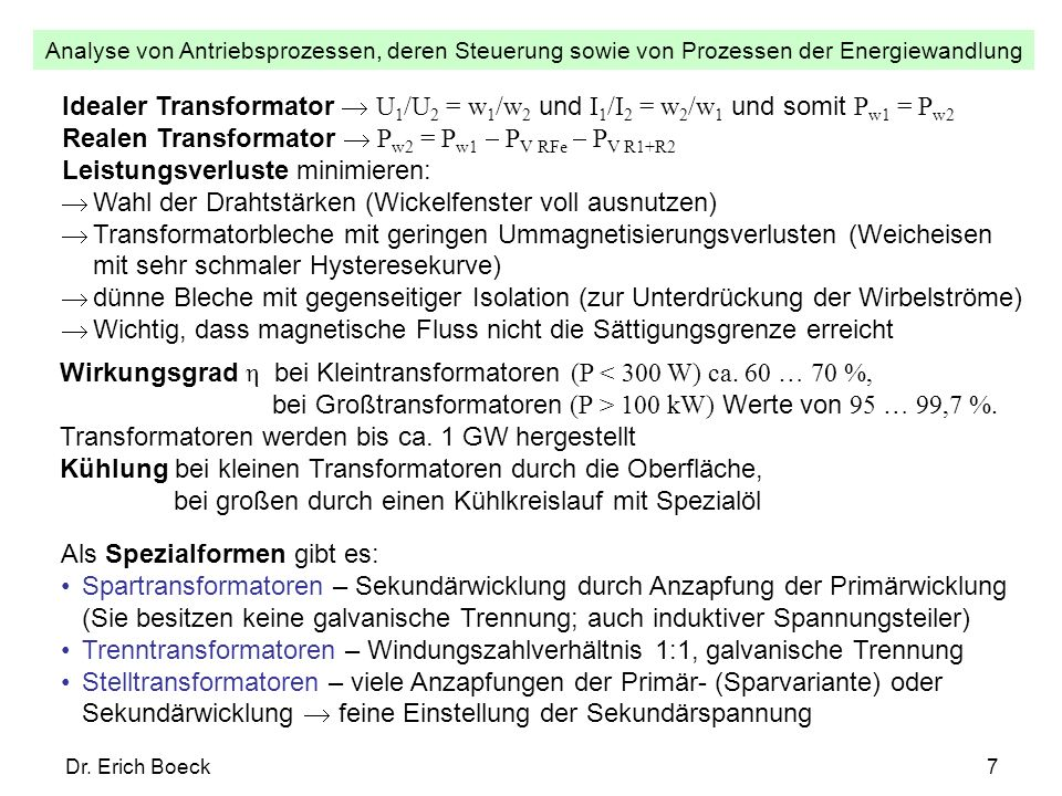 Analyse von Antriebsprozessen, deren Steuerung sowie von Prozessen der Energiewandlung Dr. Erich Boeck7 Idealer Transformator U 1 /U 2 = w 1 /w 2 und