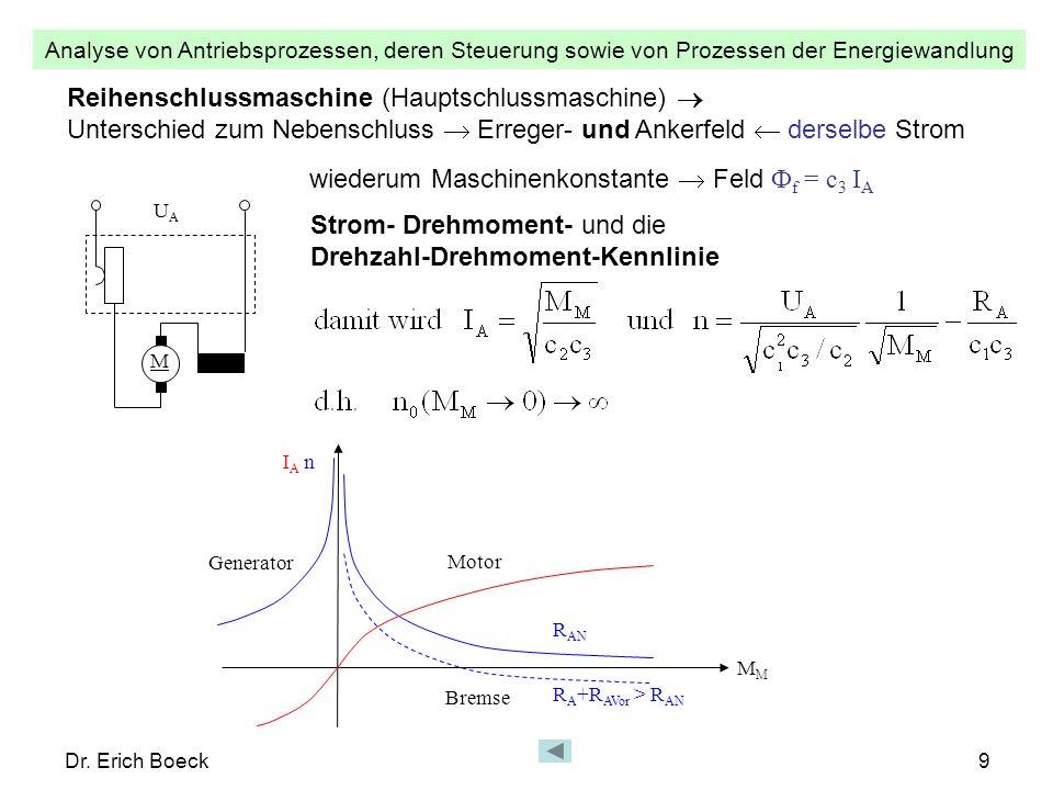 Analyse von Antriebsprozessen, deren Steuerung sowie von Prozessen der Energiewandlung Dr. Erich Boeck9 Reihenschlussmaschine (Hauptschlussmaschine) U