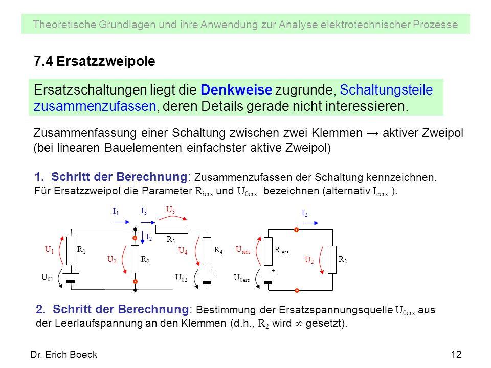 Theoretische Grundlagen und ihre Anwendung zur Analyse elektrotechnischer Prozesse Dr. Erich Boeck12 7.4 Ersatzzweipole Ersatzschaltungen liegt die De