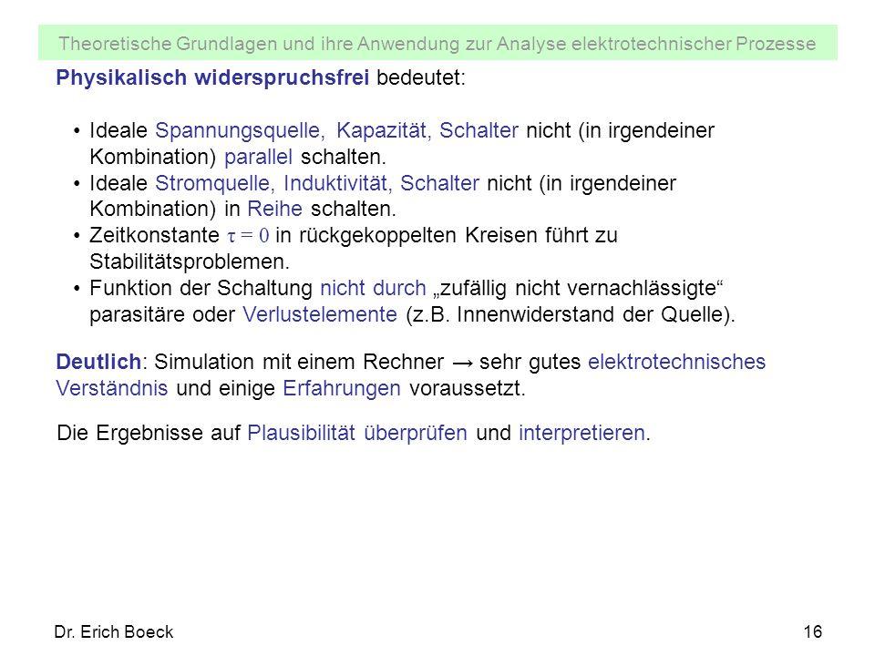 Theoretische Grundlagen und ihre Anwendung zur Analyse elektrotechnischer Prozesse Dr. Erich Boeck16 Physikalisch widerspruchsfrei bedeutet: Ideale Sp
