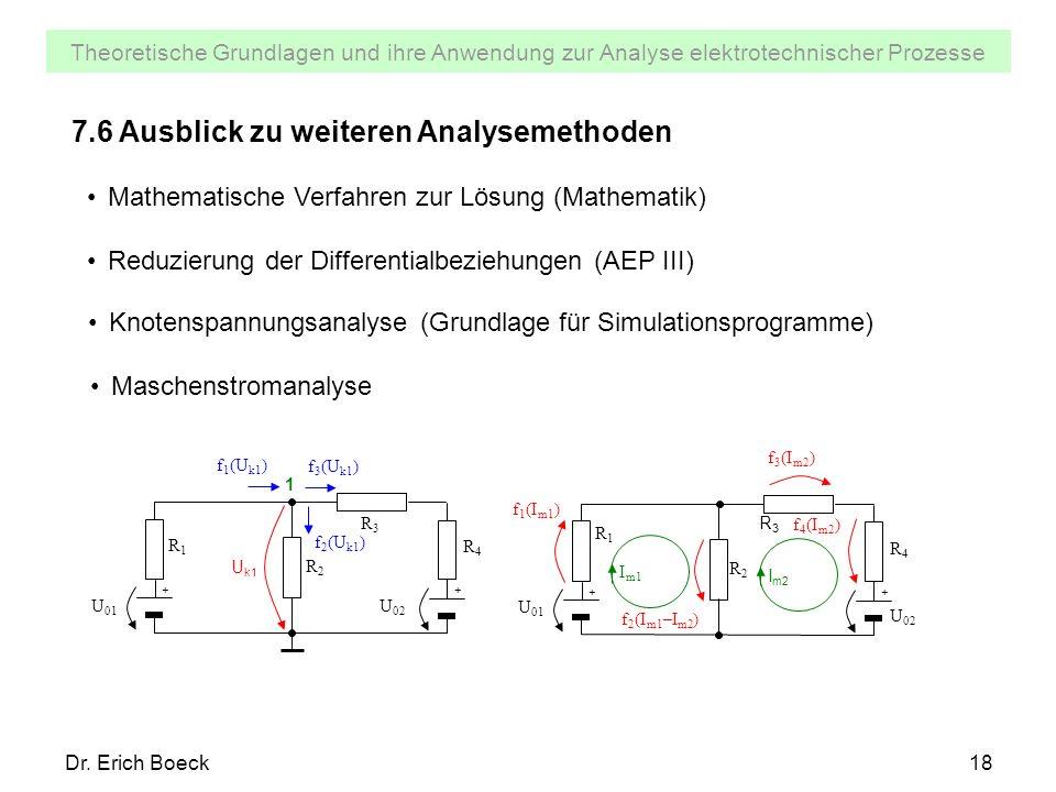 Theoretische Grundlagen und ihre Anwendung zur Analyse elektrotechnischer Prozesse Dr. Erich Boeck18 7.6 Ausblick zu weiteren Analysemethoden Mathemat