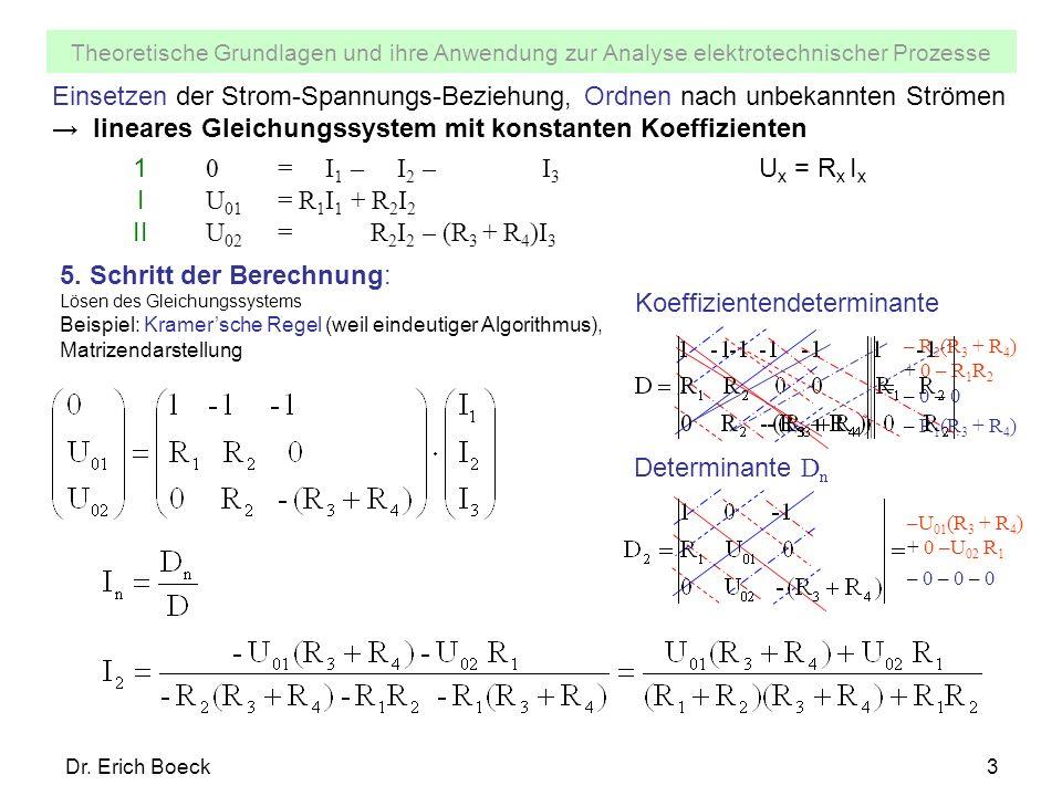 Theoretische Grundlagen und ihre Anwendung zur Analyse elektrotechnischer Prozesse Dr. Erich Boeck3 Einsetzen der Strom-Spannungs-Beziehung, Ordnen na