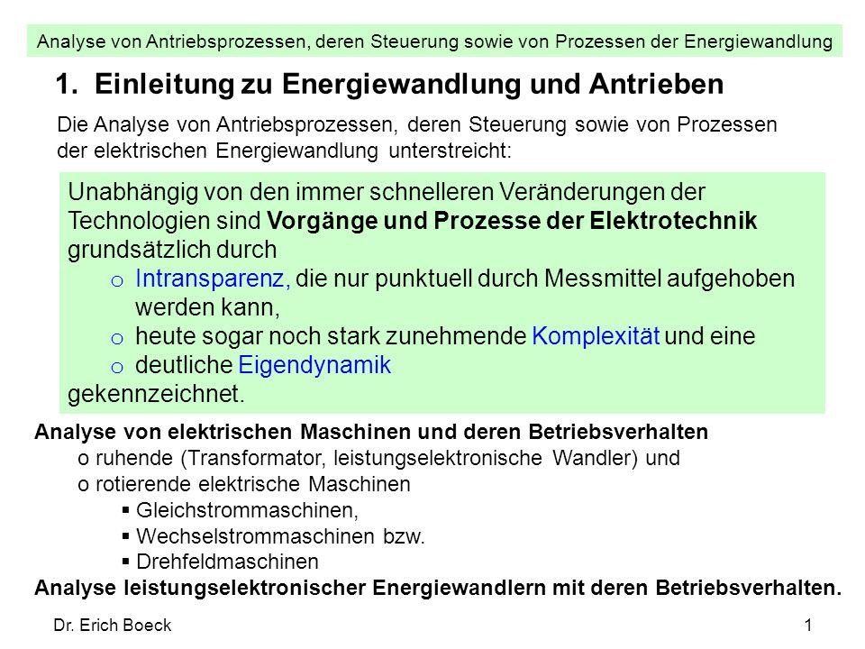 Analyse von Antriebsprozessen, deren Steuerung sowie von Prozessen der Energiewandlung Dr. Erich Boeck1 1. Einleitung zu Energiewandlung und Antrieben