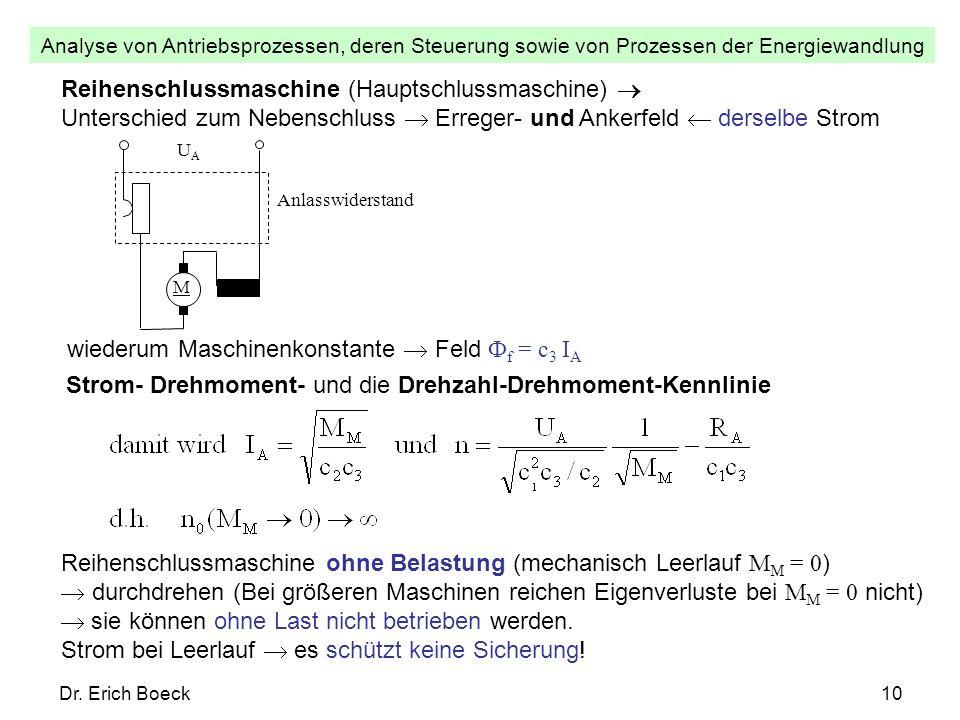 Analyse von Antriebsprozessen, deren Steuerung sowie von Prozessen der Energiewandlung Dr. Erich Boeck10 Reihenschlussmaschine (Hauptschlussmaschine)