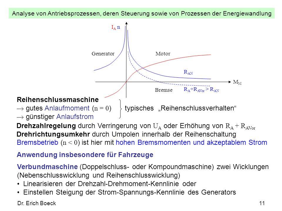 Analyse von Antriebsprozessen, deren Steuerung sowie von Prozessen der Energiewandlung Dr. Erich Boeck11 IA nIA n M Motor R A +R AVor > R AN Bremse R