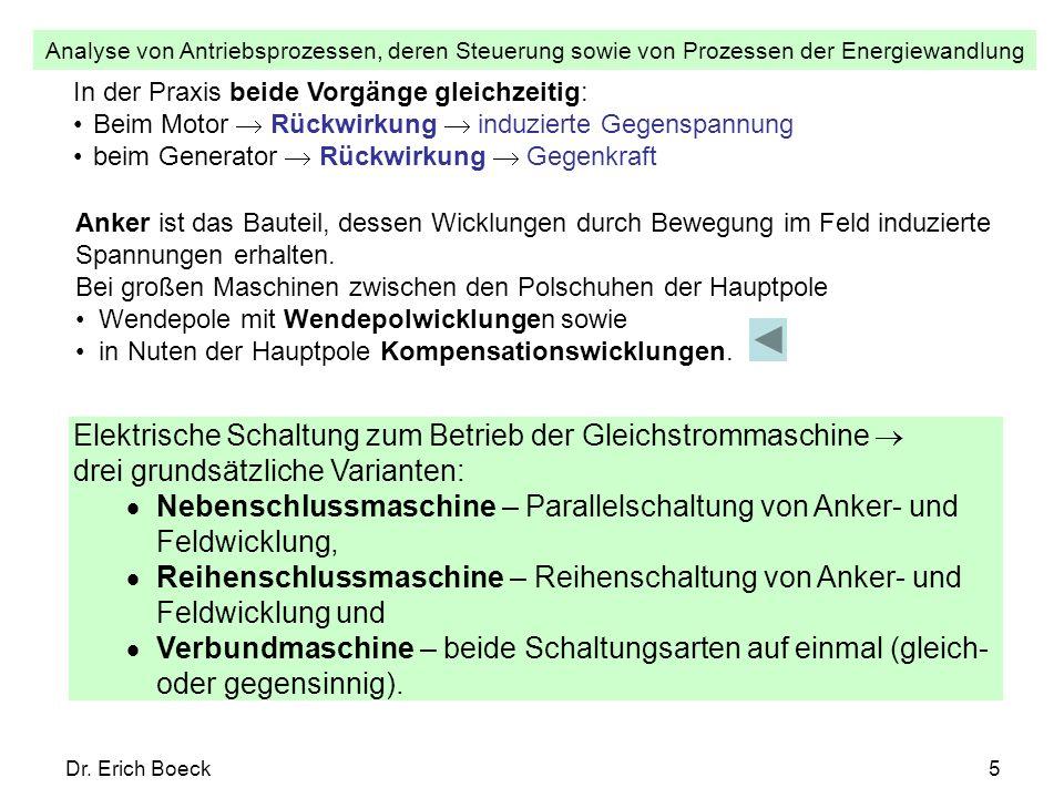 Analyse von Antriebsprozessen, deren Steuerung sowie von Prozessen der Energiewandlung Dr. Erich Boeck5 In der Praxis beide Vorgänge gleichzeitig: Bei