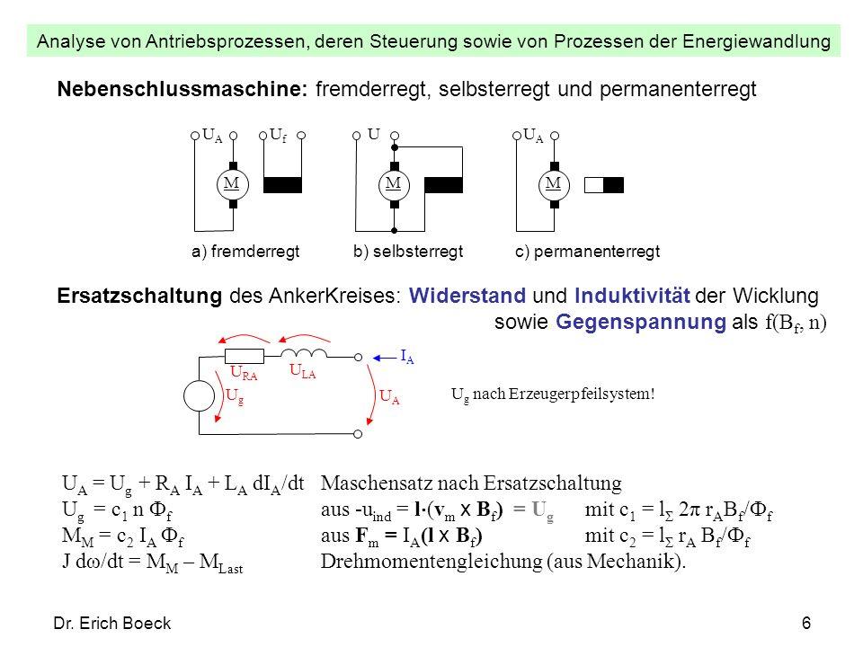 Analyse von Antriebsprozessen, deren Steuerung sowie von Prozessen der Energiewandlung Dr. Erich Boeck6 Nebenschlussmaschine: fremderregt, selbsterreg
