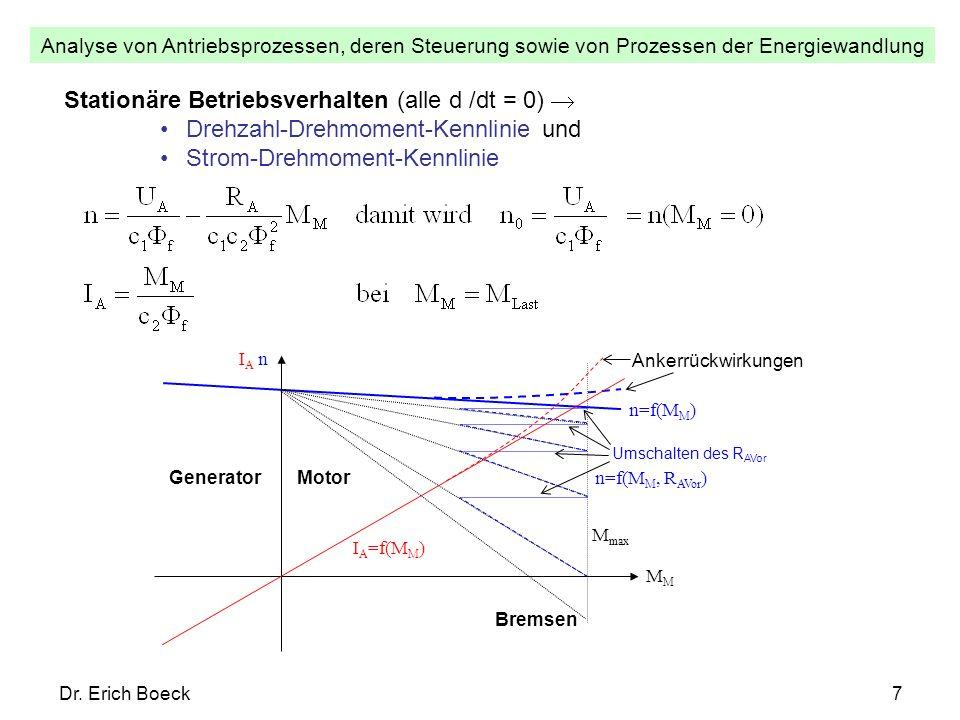 Analyse von Antriebsprozessen, deren Steuerung sowie von Prozessen der Energiewandlung Dr. Erich Boeck7 Stationäre Betriebsverhalten (alle d /dt = 0)