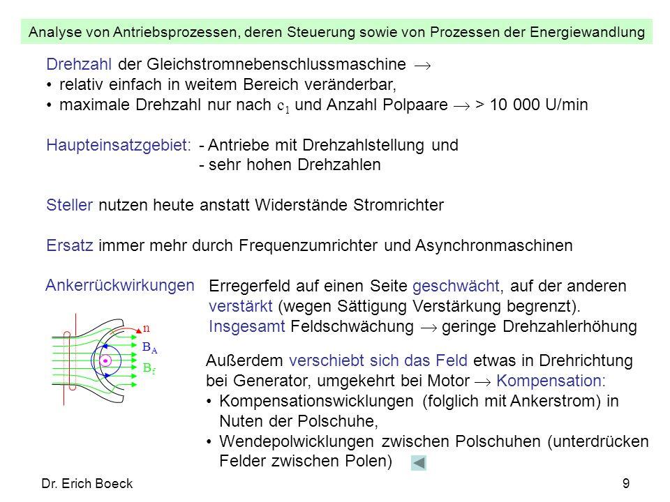 Analyse von Antriebsprozessen, deren Steuerung sowie von Prozessen der Energiewandlung Dr. Erich Boeck9 Drehzahl der Gleichstromnebenschlussmaschine r