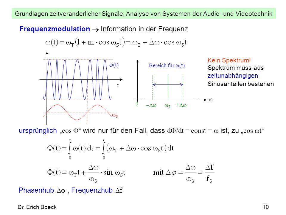Grundlagen zeitveränderlicher Signale, Analyse von Systemen der Audio- und Videotechnik Dr. Erich Boeck10 Frequenzmodulation Information in der Freque