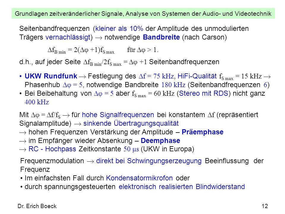 Grundlagen zeitveränderlicher Signale, Analyse von Systemen der Audio- und Videotechnik Dr. Erich Boeck12 Seitenbandfrequenzen (kleiner als 10% der Am