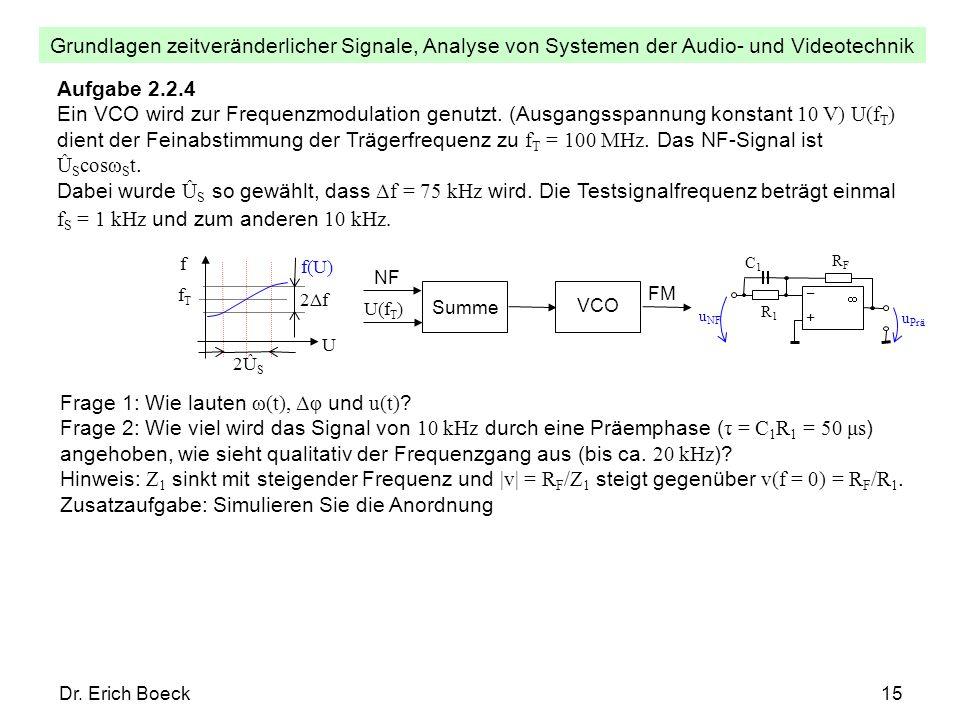 Grundlagen zeitveränderlicher Signale, Analyse von Systemen der Audio- und Videotechnik Dr. Erich Boeck15 Aufgabe 2.2.4 Ein VCO wird zur Frequenzmodul