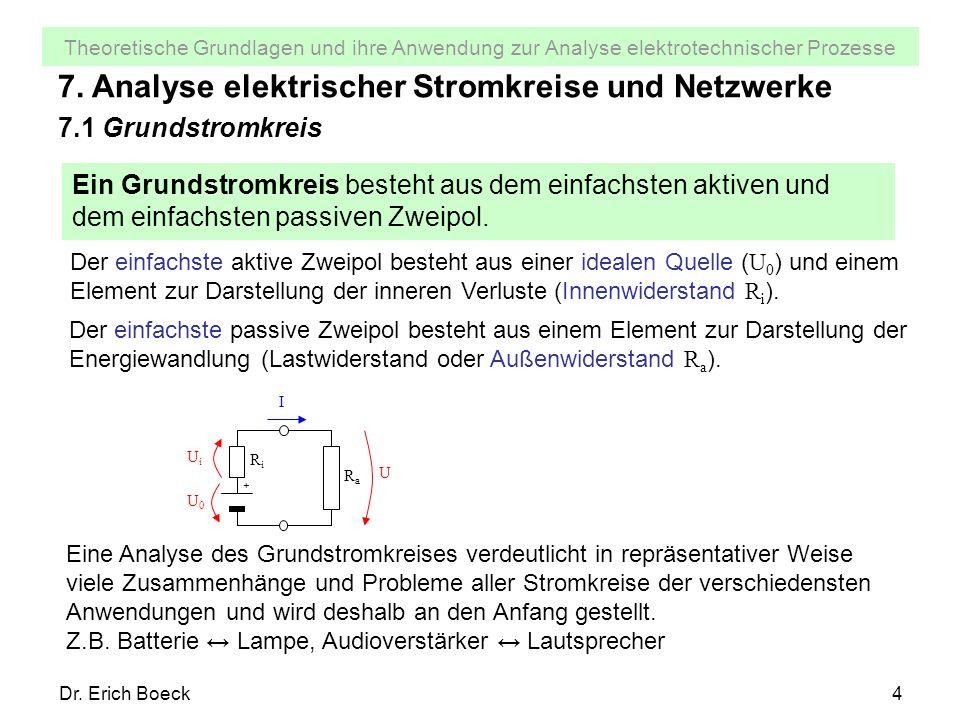 Theoretische Grundlagen und ihre Anwendung zur Analyse elektrotechnischer Prozesse Dr. Erich Boeck4 7. Analyse elektrischer Stromkreise und Netzwerke