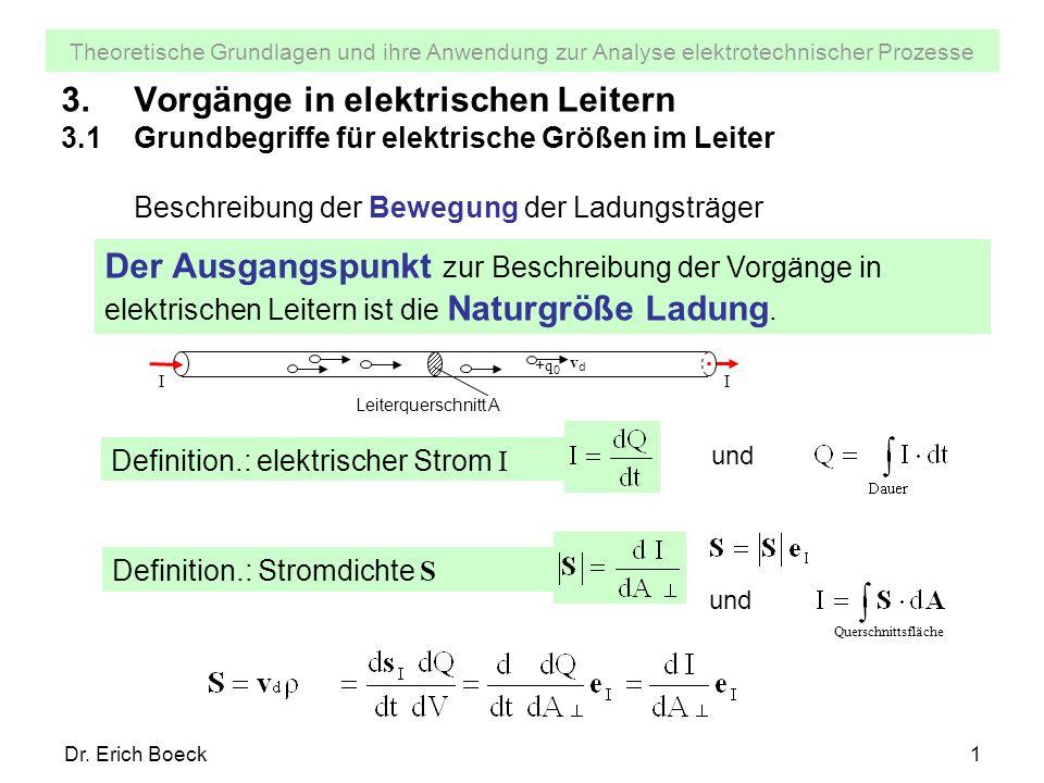 Theoretische Grundlagen und ihre Anwendung zur Analyse elektrotechnischer Prozesse Dr. Erich Boeck1 3.Vorgänge in elektrischen Leitern 3.1Grundbegriff