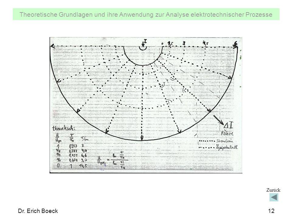 Theoretische Grundlagen und ihre Anwendung zur Analyse elektrotechnischer Prozesse Dr. Erich Boeck12 Zurück