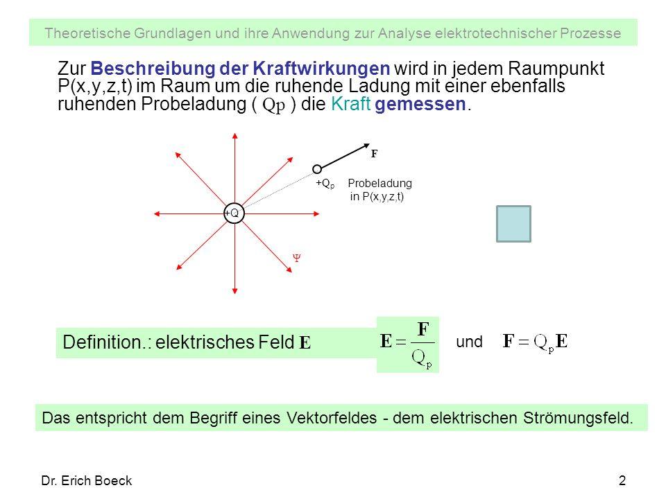 Theoretische Grundlagen und ihre Anwendung zur Analyse elektrotechnischer Prozesse Dr. Erich Boeck2 Zur Beschreibung der Kraftwirkungen wird in jedem