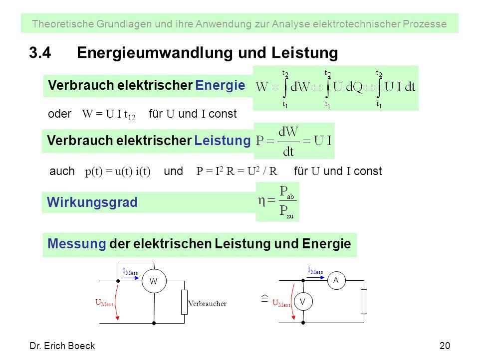 Theoretische Grundlagen und ihre Anwendung zur Analyse elektrotechnischer Prozesse Dr. Erich Boeck20 3.4Energieumwandlung und Leistung Verbrauch elekt