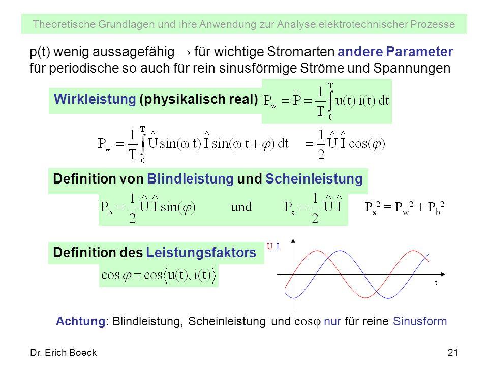 Theoretische Grundlagen und ihre Anwendung zur Analyse elektrotechnischer Prozesse Dr. Erich Boeck21 p(t) wenig aussagefähig für wichtige Stromarten a