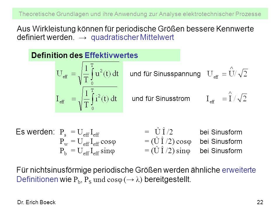 Theoretische Grundlagen und ihre Anwendung zur Analyse elektrotechnischer Prozesse Dr. Erich Boeck22 Aus Wirkleistung können für periodische Größen be