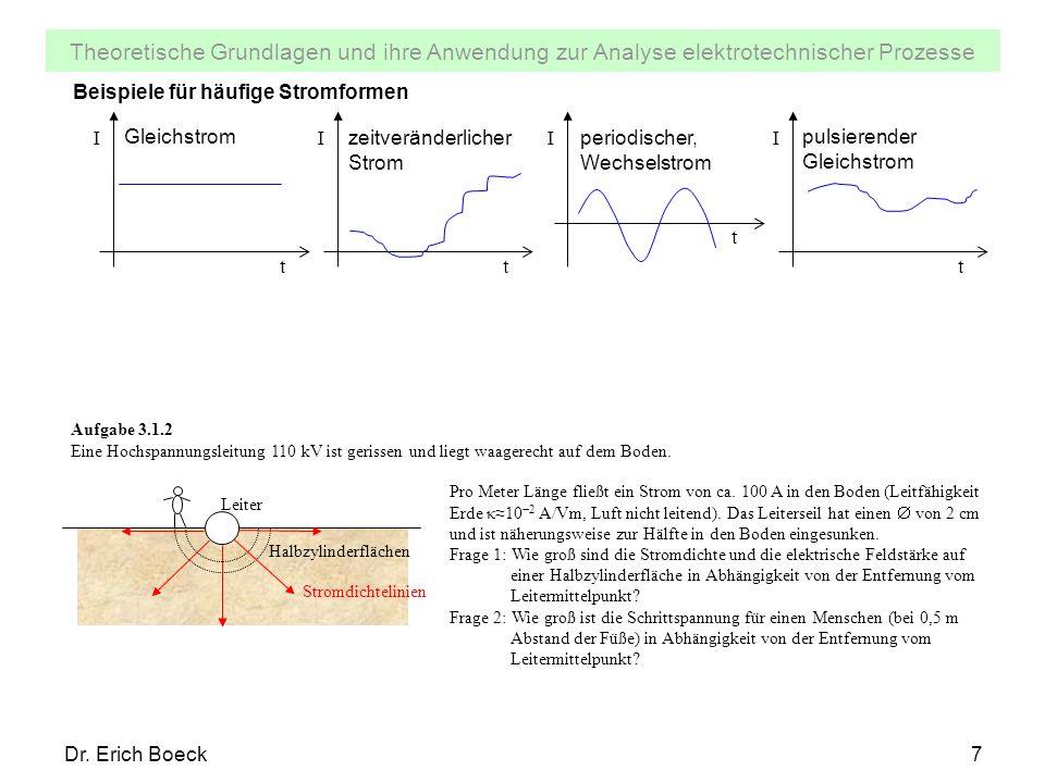 Theoretische Grundlagen und ihre Anwendung zur Analyse elektrotechnischer Prozesse Dr. Erich Boeck7 Beispiele für häufige Stromformen I t I t I t I t