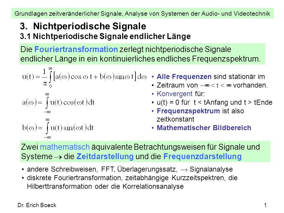 Grundlagen zeitveränderlicher Signale, Analyse von Systemen der Audio- und Videotechnik Dr. Erich Boeck1 3. Nichtperiodische Signale 3.1 Nichtperiodis