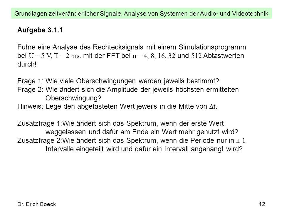 Grundlagen zeitveränderlicher Signale, Analyse von Systemen der Audio- und Videotechnik Dr. Erich Boeck12 Aufgabe 3.1.1 Führe eine Analyse des Rechtec