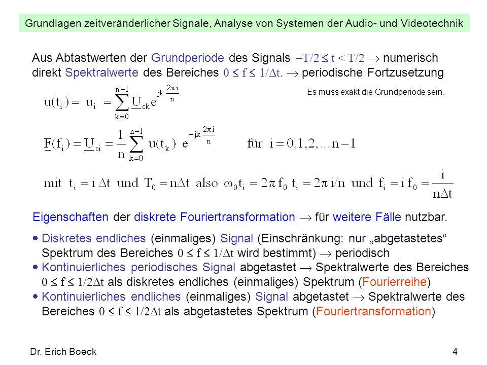 Grundlagen zeitveränderlicher Signale, Analyse von Systemen der Audio- und Videotechnik Dr. Erich Boeck4 Aus Abtastwerten der Grundperiode des Signals