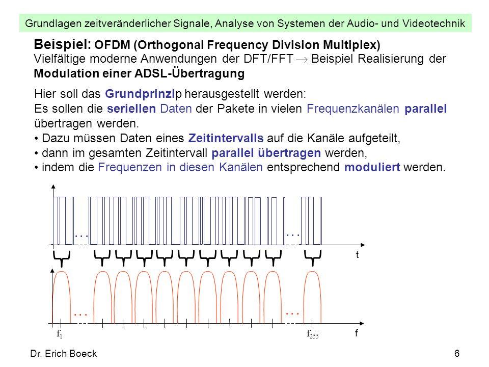 Grundlagen zeitveränderlicher Signale, Analyse von Systemen der Audio- und Videotechnik Dr. Erich Boeck6 Beispiel: OFDM (Orthogonal Frequency Division