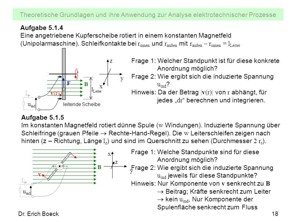 Theoretische Grundlagen und ihre Anwendung zur Analyse elektrotechnischer Prozesse Dr. Erich Boeck18 Aufgabe 5.1.4 Eine angetriebene Kupferscheibe rot