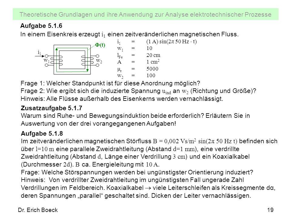 Theoretische Grundlagen und ihre Anwendung zur Analyse elektrotechnischer Prozesse Dr. Erich Boeck19 Aufgabe 5.1.6 In einem Eisenkreis erzeugt i 1 ein