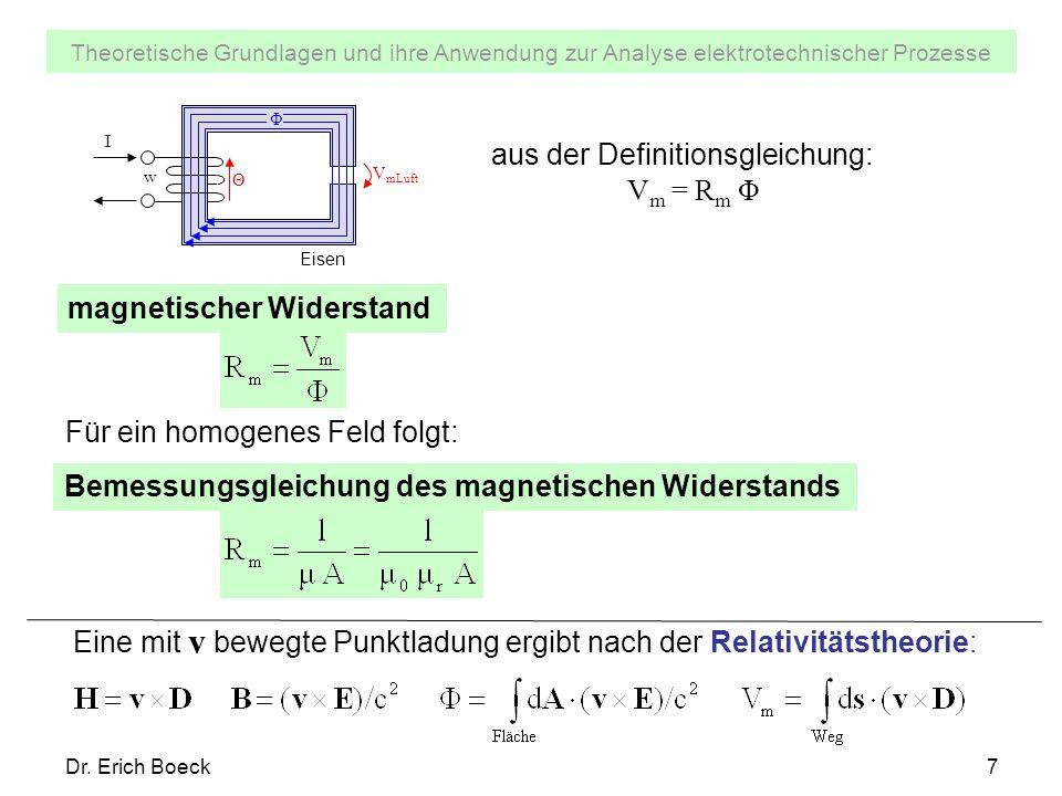 Theoretische Grundlagen und ihre Anwendung zur Analyse elektrotechnischer Prozesse Dr. Erich Boeck7 magnetischer Widerstand aus der Definitionsgleichu