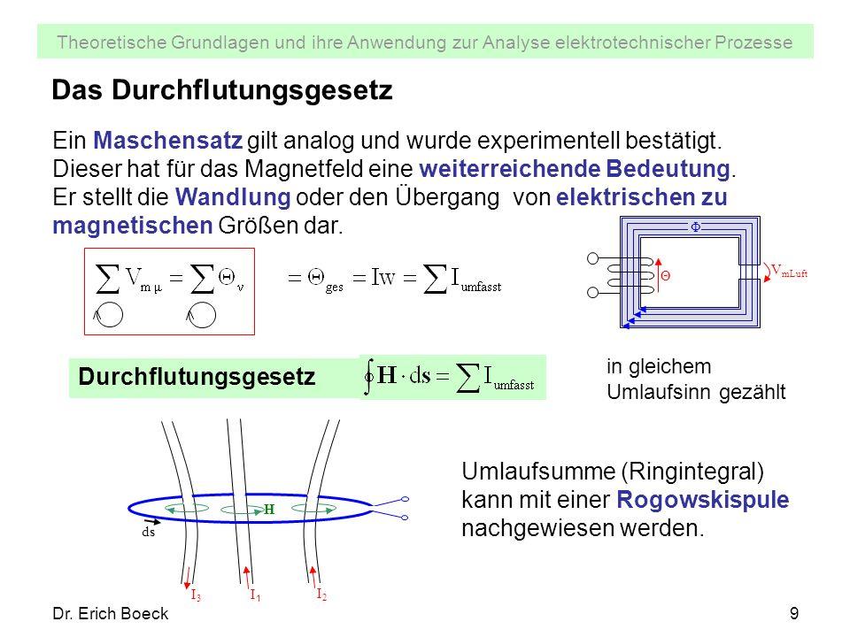 Theoretische Grundlagen und ihre Anwendung zur Analyse elektrotechnischer Prozesse Dr. Erich Boeck9 Das Durchflutungsgesetz Ein Maschensatz gilt analo