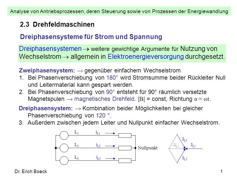 Analyse von Antriebsprozessen, deren Steuerung sowie von Prozessen der Energiewandlung Dr. Erich Boeck1 2.3 Drehfeldmaschinen Dreiphasensysteme für St