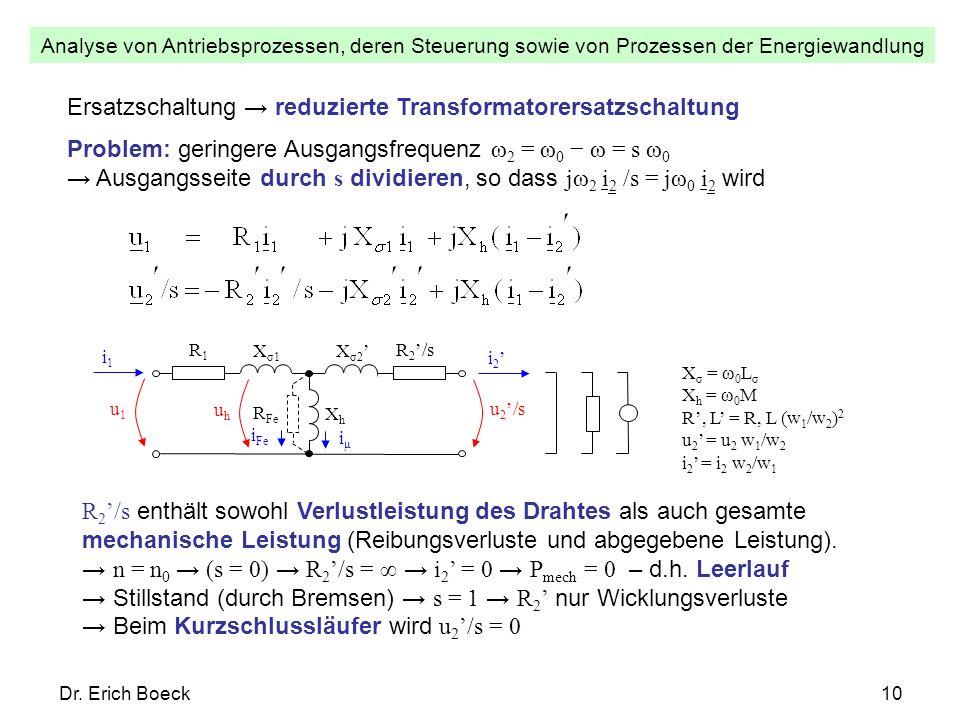 Analyse von Antriebsprozessen, deren Steuerung sowie von Prozessen der Energiewandlung Dr. Erich Boeck10 Ersatzschaltung reduzierte Transformatorersat
