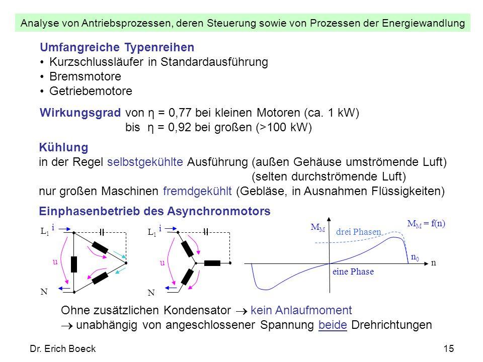 Analyse von Antriebsprozessen, deren Steuerung sowie von Prozessen der Energiewandlung Dr. Erich Boeck15 Umfangreiche Typenreihen Kurzschlussläufer in