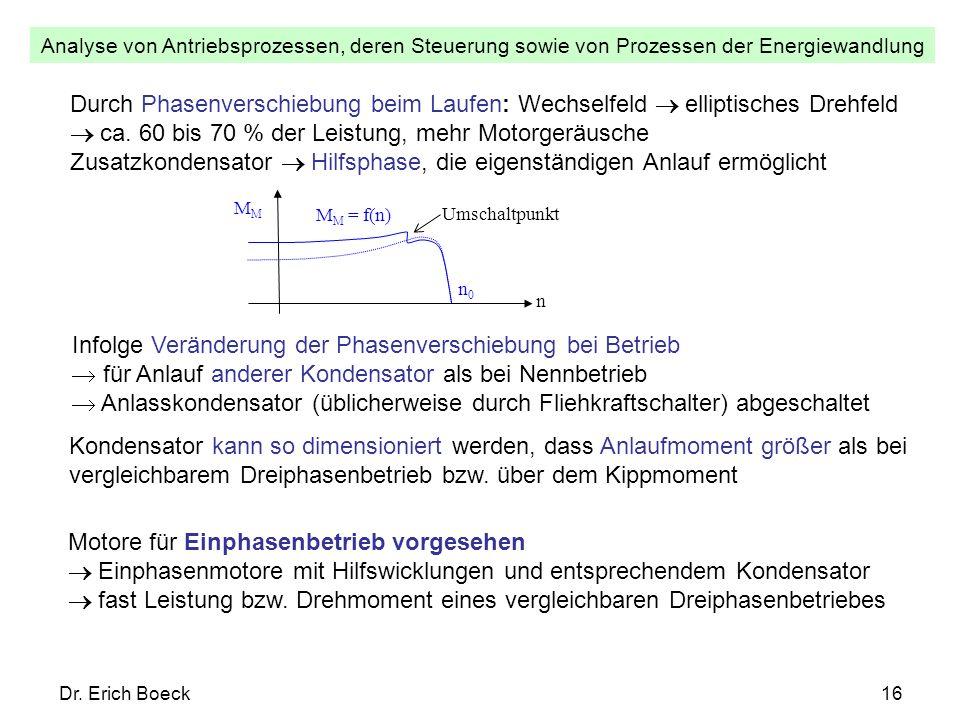Analyse von Antriebsprozessen, deren Steuerung sowie von Prozessen der Energiewandlung Dr. Erich Boeck16 Durch Phasenverschiebung beim Laufen: Wechsel